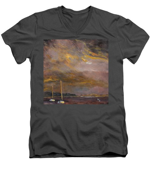 Men's V-Neck T-Shirt featuring the painting Anticipation by Michael Helfen