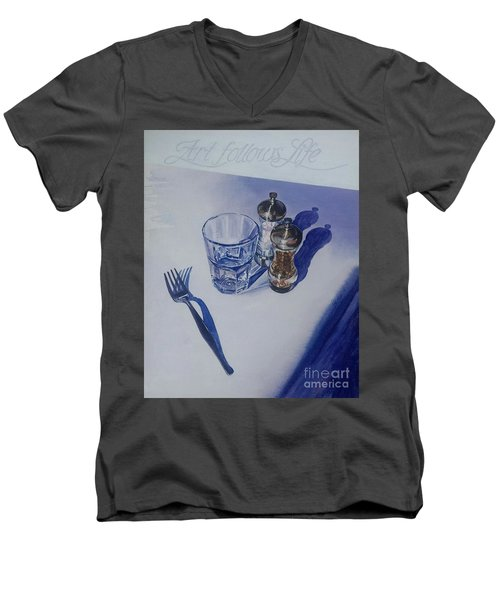 Men's V-Neck T-Shirt featuring the painting Anticipation by Sandra Phryce-Jones