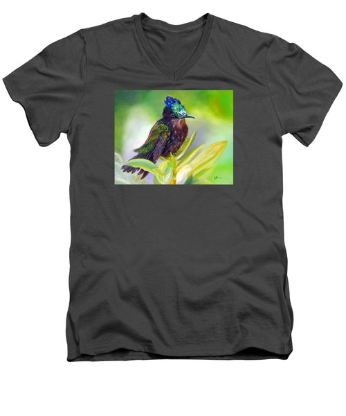 Antillean Crested Hummingbird Men's V-Neck T-Shirt by LaVonne Hand