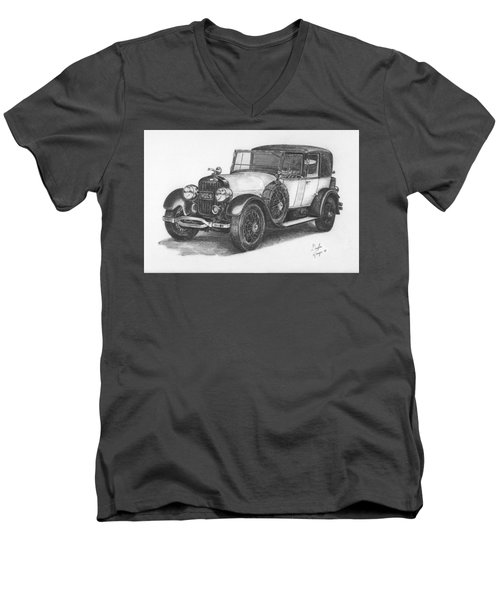 Antique Car -pencil Study Men's V-Neck T-Shirt by Doug Kreuger
