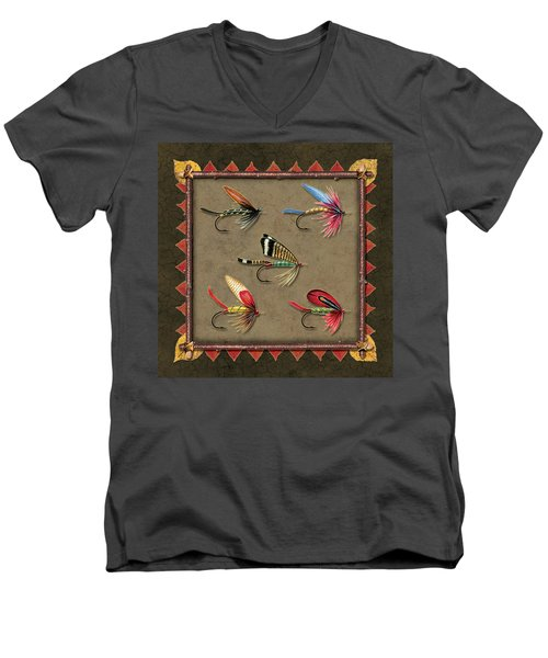 Men's V-Neck T-Shirt featuring the painting Antique Fly Panel by JQ Licensing