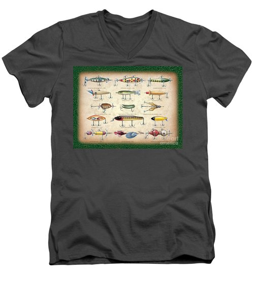 Men's V-Neck T-Shirt featuring the painting Antique Lures Panel by JQ Licensing