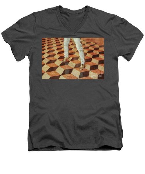 Men's V-Neck T-Shirt featuring the photograph Antique Optical Illusion Floor Tiles by Patricia Hofmeester