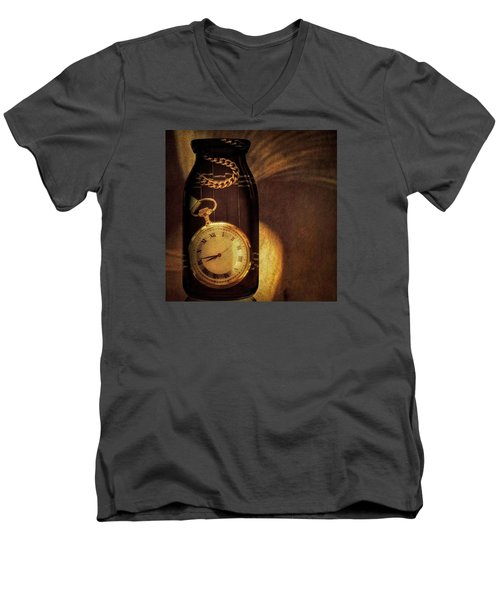 Antique Pocket Watch In A Bottle Men's V-Neck T-Shirt by Susan Candelario