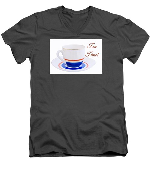 Antique Teacup From Japan With Tea Time Invitation Men's V-Neck T-Shirt