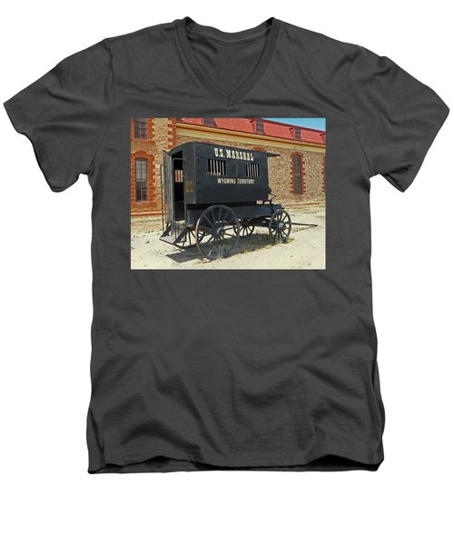 Antique U.s Marshalls Wagon Men's V-Neck T-Shirt by Sally Weigand