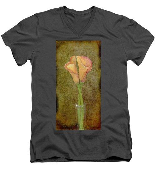 Antiqued Lilies Men's V-Neck T-Shirt