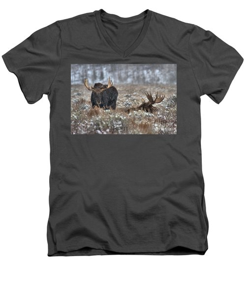 Men's V-Neck T-Shirt featuring the photograph Antlers In The Brush by Adam Jewell