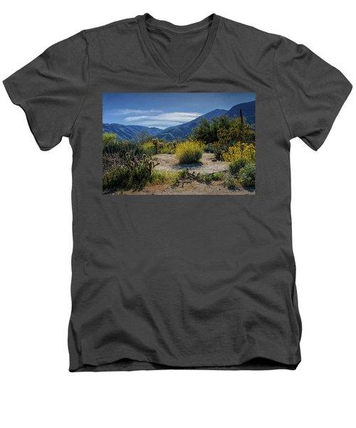 Men's V-Neck T-Shirt featuring the photograph Anza-borrego Desert State Park Desert Flowers by Randall Nyhof