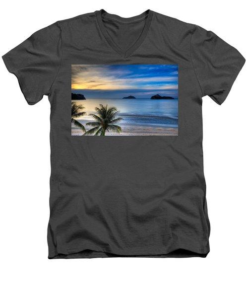 Ao Manao Bay Men's V-Neck T-Shirt by Adrian Evans