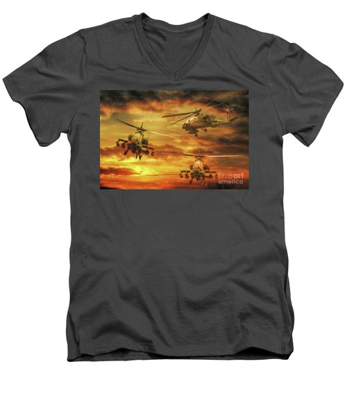 Men's V-Neck T-Shirt featuring the digital art Apache Attack by Randy Steele