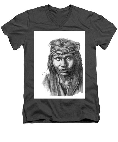Apache Boy Men's V-Neck T-Shirt by Lawrence Tripoli
