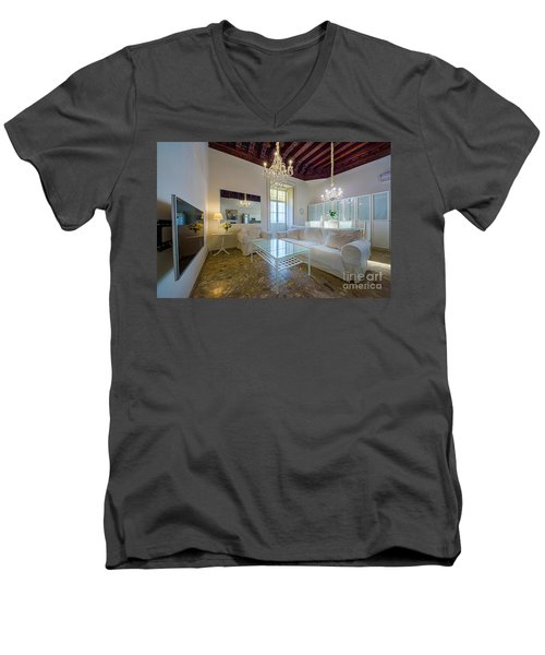 Men's V-Neck T-Shirt featuring the photograph Apartment In The Heart Of Cadiz 17th Century by Pablo Avanzini