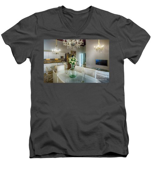 Men's V-Neck T-Shirt featuring the photograph Apartment In The Heart Of Cadiz Spain 17th Century by Pablo Avanzini