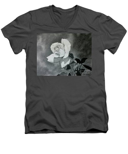 Men's V-Neck T-Shirt featuring the drawing Aperitif Rose by Terri Mills