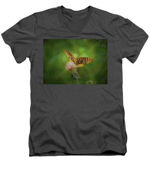 Men's V-Neck T-Shirt featuring the photograph Aphrodite Fritillary Butterfly by Sandy Keeton