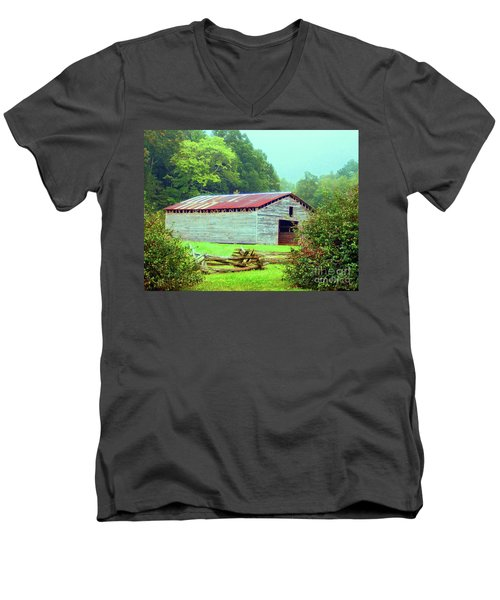 Appalachian Livestock Barn Men's V-Neck T-Shirt by Desiree Paquette