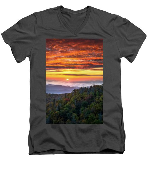 Appalachian Mountains Asheville North Carolina Blue Ridge Parkway Nc Scenic Landscape Men's V-Neck T-Shirt