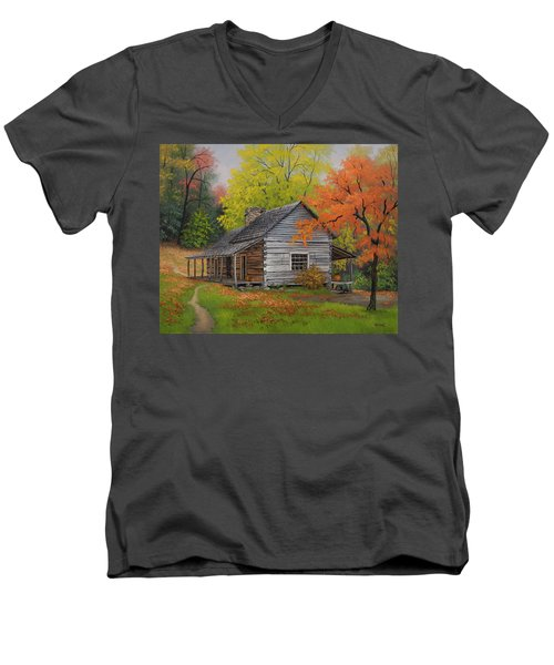Men's V-Neck T-Shirt featuring the painting Appalachian Retreat-autumn by Kyle Wood
