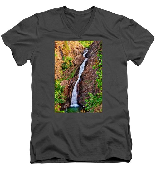 Appistoki Falls Men's V-Neck T-Shirt by Greg Norrell