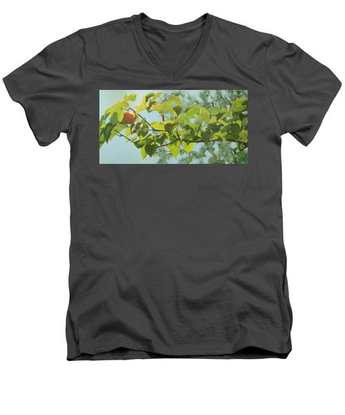 Men's V-Neck T-Shirt featuring the painting Apple A Day by Karen Ilari