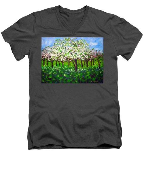 Apple Blossom Orchard Men's V-Neck T-Shirt