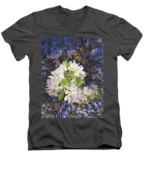 Apple Blossoms At Dusk Men's V-Neck T-Shirt by Anne Gifford