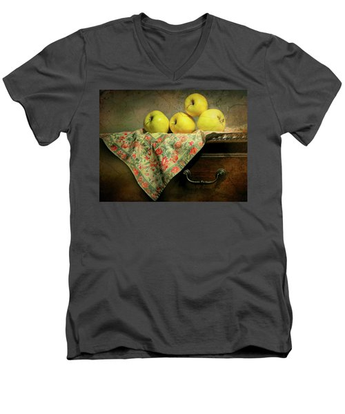 Men's V-Neck T-Shirt featuring the photograph Apple Cloth by Diana Angstadt