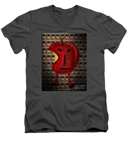Men's V-Neck T-Shirt featuring the digital art Apple Head by Megan Dirsa-DuBois