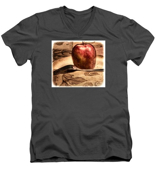 Apple Men's V-Neck T-Shirt by Lawrence Burry