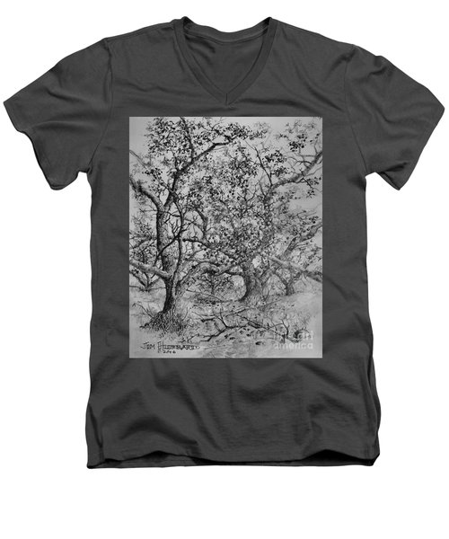 Men's V-Neck T-Shirt featuring the drawing Apple Orchard by Jim Hubbard