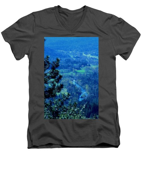 Men's V-Neck T-Shirt featuring the photograph Applegate River From On Top Of Bolt Mountain by Marie Neder