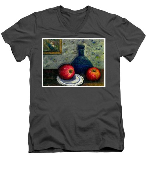 Men's V-Neck T-Shirt featuring the painting Apples And Bottles by Gail Kirtz