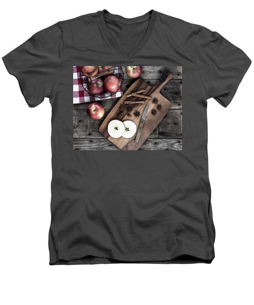 Men's V-Neck T-Shirt featuring the photograph Apples And Cinnamon  by Kim Hojnacki