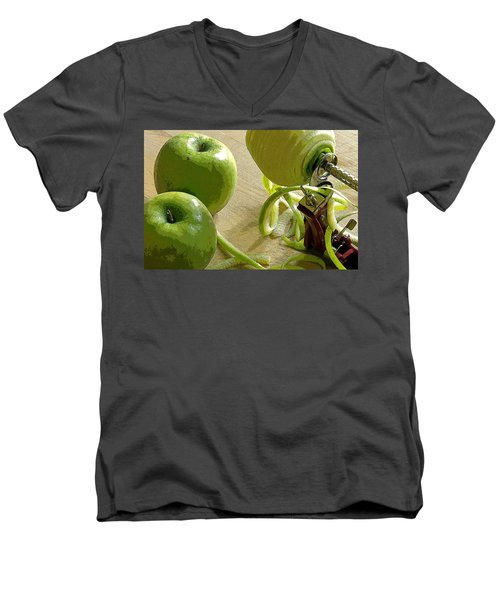 Apples Getting Peeled Men's V-Neck T-Shirt by Debra Baldwin