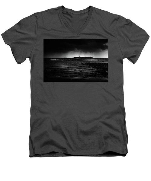Approaching Storm, Ailsa Craig And Pladda Island Men's V-Neck T-Shirt