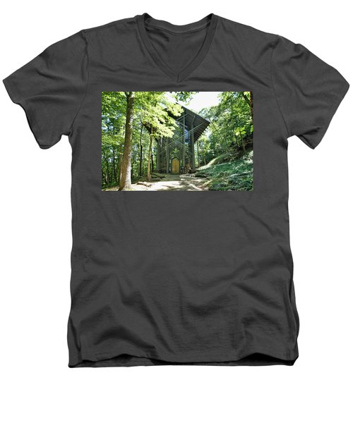 Men's V-Neck T-Shirt featuring the photograph Approaching Thorncrown Chapel by Cricket Hackmann