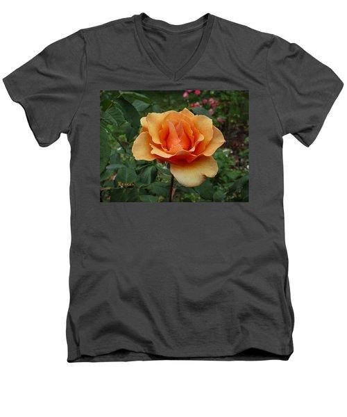 Apricot Rose Men's V-Neck T-Shirt by Sadie Reneau
