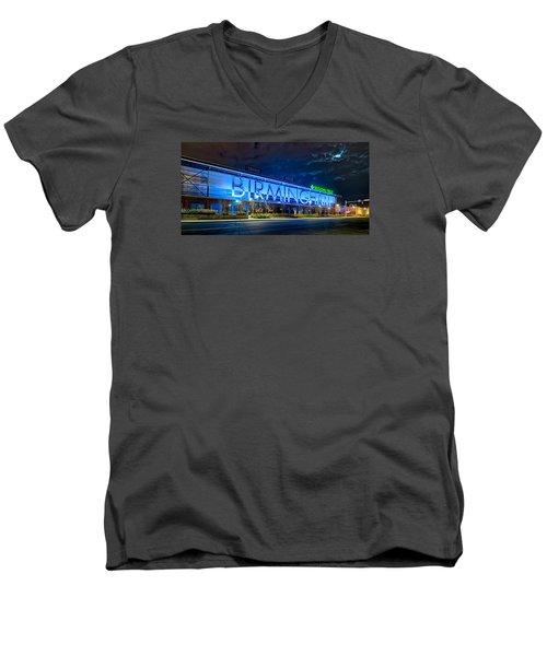 April 2015 -  Birmingham Alabama Baseball Regions Field At Night Men's V-Neck T-Shirt by Alex Grichenko