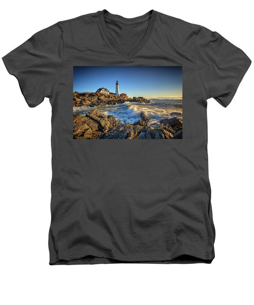 Men's V-Neck T-Shirt featuring the photograph April Morning At Portland Head by Rick Berk