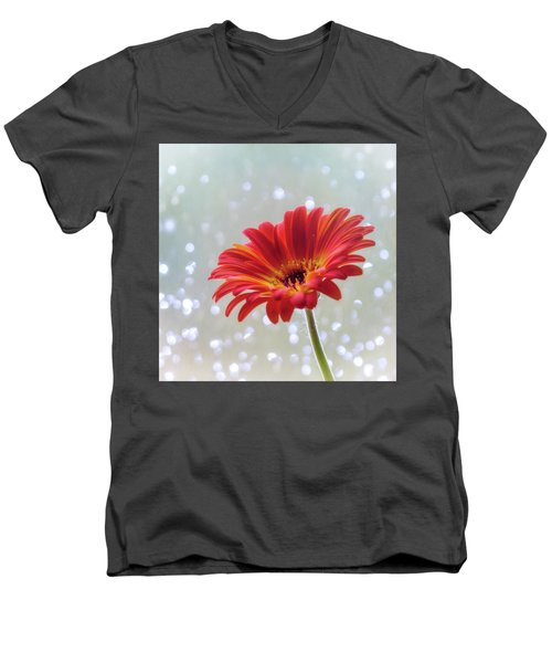 Men's V-Neck T-Shirt featuring the photograph April Showers Gerbera Daisy Square by Terry DeLuco
