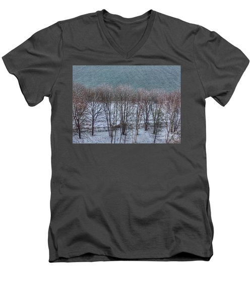April Snow On Portland Trails Men's V-Neck T-Shirt