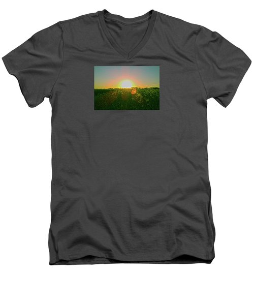 Men's V-Neck T-Shirt featuring the photograph April Sunrise by Anne Kotan