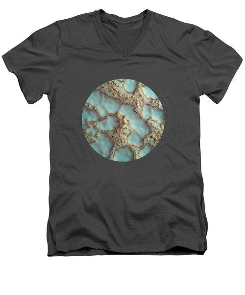 Aqua Coral Reef Abstract Men's V-Neck T-Shirt