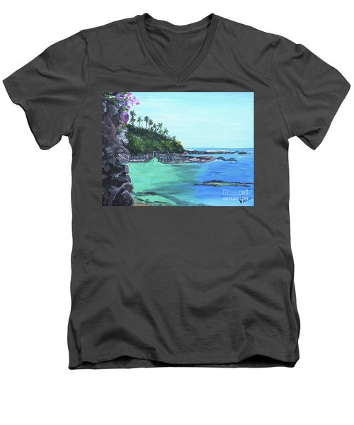 Men's V-Neck T-Shirt featuring the painting Aqua Passage by Judy Via-Wolff