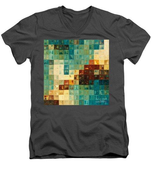 Aqua Tile Mosaic. Modern Mosaic Tile Art Painting Men's V-Neck T-Shirt