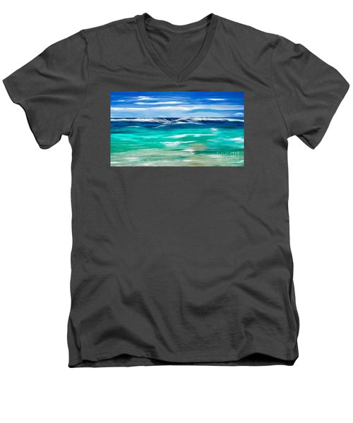 Aqua Waves Men's V-Neck T-Shirt by Anthony Fishburne
