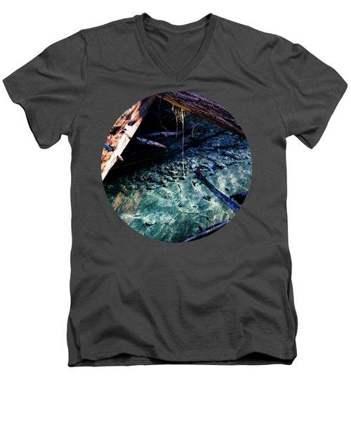 Aquamarine Men's V-Neck T-Shirt by Adam Morsa
