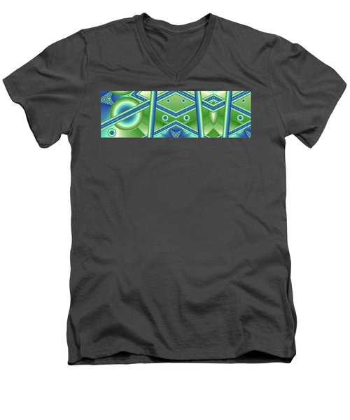 Men's V-Neck T-Shirt featuring the digital art Aquamarine by Ron Bissett