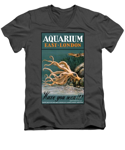Aquarium Octopus Vintage Poster Restored Men's V-Neck T-Shirt